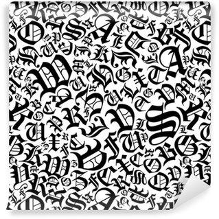 Vinil Duvar Kağıdı Gotik bir yazı tipi stilinde sorunsuz alfabe desen