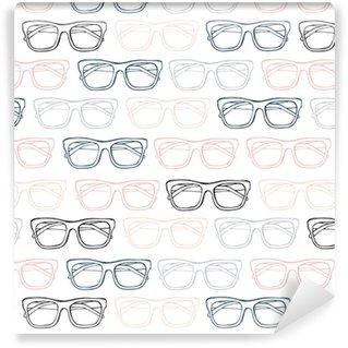 Vinil Duvar Kağıdı Gözlük dikişsiz desen, elle çizilmiş vektör. eskiz illüstrasyonu.