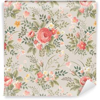 Vinil Duvar Kağıdı Gül ile Seamless floral pattern