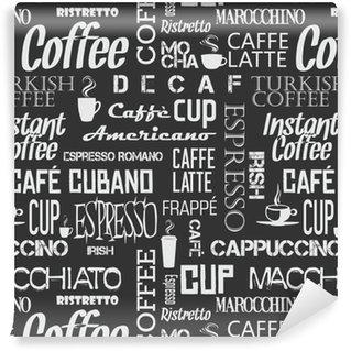 Vinil Duvar Kağıdı Kahve kelime ve sembolleri arka plan sorunsuz döşeme