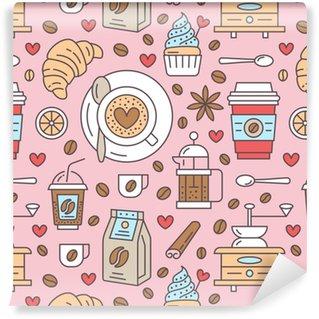 Vinil Duvar Kağıdı Kahve, vektör arka plan dikişsiz desen. şirin içecekler, sıcak içecekler renkli düz çizgi simgeleri - kahve makinesi makinesi, fasulye, fincan, öğütücü. kafe menüsü, mağaza sarma kağıdı için tekrarlanan doku.