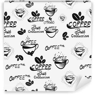 Vinil Duvar Kağıdı Kahverengi bardaklar demlenmiş, sıcak çikolata ve kremsi cappuccino ile kahve dikişsiz desen, beyaz arka plan üzerine dağılmış. mağaza, sabah menü dekorasyonu mutfak iç tasarım