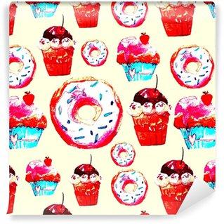 Vinil Duvar Kağıdı Kekler, donuts ve dondurma ile tatlı dikişsiz desen. menü tasarımı için iştah açıcı arka plan, davetiyeler, bir yemek kitabının sayfaları. kağıt, kumaş, fayans, duvar kağıdı sarma için harika baskı
