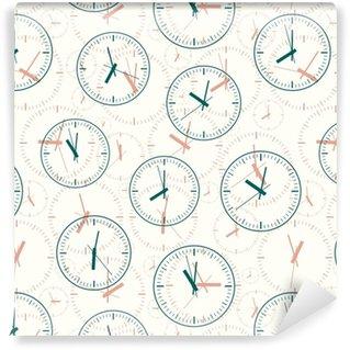 Vinil Duvar Kağıdı Kesintisiz desen saat görüntüleri oluşan. vektör illüstrasyonu.