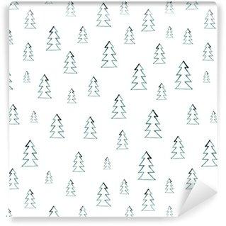 Özel Boyutlu Vinil Duvar Kağıdı Kesintisiz suluboya ormanı örüntüsü. beyaz arka planda yeşil ağaçlar. soyut suluboya illüstrasyonu. desen dolguları, duvar kağıtları, kumaş dokusu, yüzey dokuları için kullanılabilir.