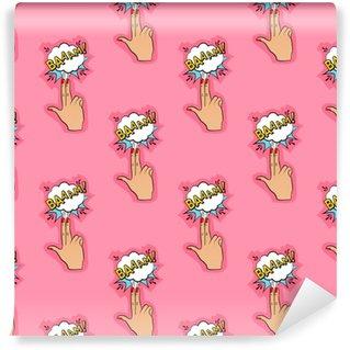 Özel Boyutlu Vinil Duvar Kağıdı Kızlar, erkekler, kıyafetler için soyut dikişsiz iğne deseni. yaratıcı vektör, parmaklarla silah, bulut ile zemin pin. tekstil ve kumaş için komik desenli duvar kağıdı. moda pop sanat stili.