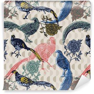 Vinil Duvar Kağıdı Kuşlar ve çiçekler, moda desen ile Vintage background