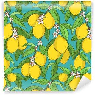 Vinil Duvar Kağıdı Limonlu dikişsiz model. sevimli vektör arka plan. karikatür tarzı. limon dalları. narenciye toplama. çok renkli ve parlak duvar kağıtları, kumaş, tasarım öğesi