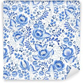 Vinil Duvar Kağıdı Mavi çiçekler çiçek Rus porselen güzel halk süsleme.