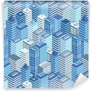 Vinil Duvar Kağıdı Mavi düz izometrik şehir dikişsiz model.