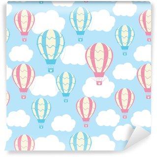 Özel Boyutlu Vinil Duvar Kağıdı Mavi gökyüzünde sevimli sıcak hava balonlarıyla bebek duşlu dikişsiz desen bebek duş duvar kağıdı, hurda kağıt ve kumaş deseni için uygundur