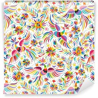 Vinil Duvar Kağıdı Meksika nakış seamless pattern. Renkli ve süslü etnik desen. Kuşlar ve çiçekler arka plan ışık. Parlak etnik takı ile floral background.
