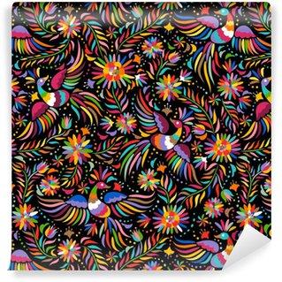 Vinil Duvar Kağıdı Meksika nakış seamless pattern. Renkli ve süslü etnik desen. Kuşlar ve çiçekler karanlık bir arka plan. Parlak etnik takı ile floral background.