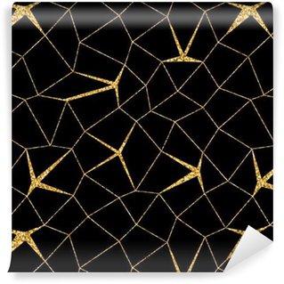 Vinil Duvar Kağıdı Mozaik geometrik dikişsiz desen 3D. Altın parıltı siyah şablonu. Özet doku Altın lüks baskılar. Geçmişe ait eski dekorasyon. Şablon duvar kağıdı, sarma, tekstil Vektör İllüstrasyon Tasarım