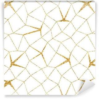 Vinil Duvar Kağıdı Mozaik geometrik dikişsiz desen 3D. Altın yaldız beyaz şablonu. Özet doku Altın lüks baskılar. Geçmişe ait eski dekorasyon. Şablon duvar kağıdı, sarma, tekstil Vektör İllüstrasyon Tasarım