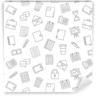 Vinil Duvar Kağıdı Ofis iş örneği siyah simgeler