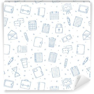 Vinil Duvar Kağıdı Ofis işi deseni bulmaca simgeleri
