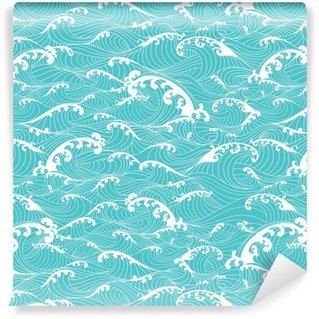 Vinil Duvar Kağıdı Okyanus dalgaları, çizgili model elle Asya tarzı çizilmiş