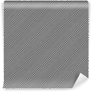 Vinil Duvar Kağıdı Optik Sanat Tasarım Stripes Vektör Dikişsiz Desen Tilt Görünüyor