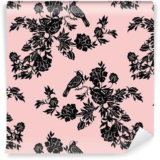 Vinil Duvar Kağıdı Oryantal çiçek ve kuş desenleri