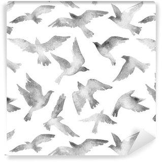 Vinil Duvar Kağıdı Özet uçan kuş beyaz zemin üzerine izole suluboya dokulu ayarlayın.