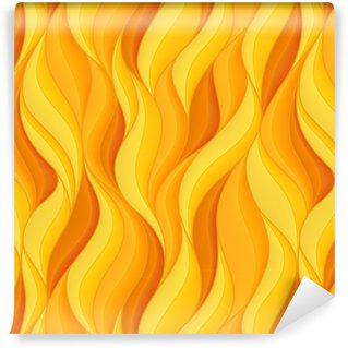 Vinil Duvar Kağıdı Parlak turuncu ve sarı hacim dalgaları ile kesintisiz desen. soyut Arkaplan.