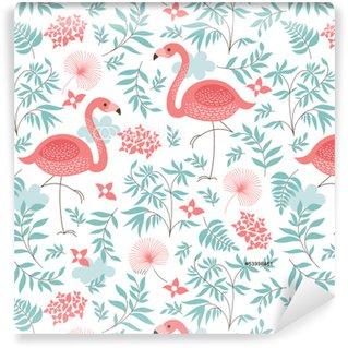 Vinil Duvar Kağıdı Pembe flamingo ile kesintisiz desen