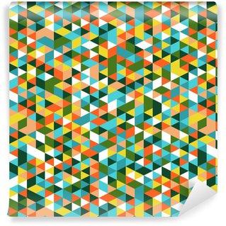 Vinil Duvar Kağıdı Retro tarzı üçgen desen. Rasgele renkli üçgenler, dikey düzen. çayır çiçek renkleri. Soyut geometrik vector background.