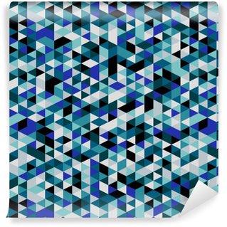Vinil Duvar Kağıdı Retro tarzı üçgen desen. Rasgele renkli üçgenler, dikey düzen. Renkler okyanus. Soyut geometrik vector background.