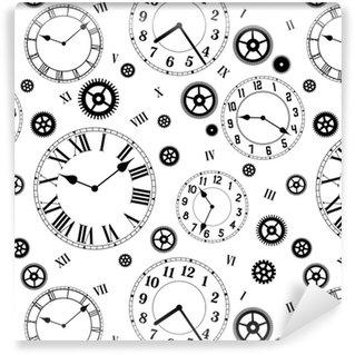 Vinil Duvar Kağıdı Saatler ve vitesler vektörel dikişsiz desen. siyah beyaz renkler.