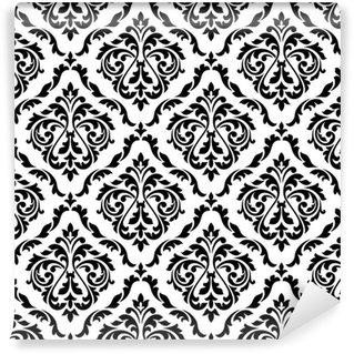 Vinil Duvar Kağıdı Şam siyah ve beyaz çiçek seamless pattern