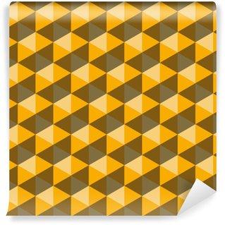Vinil Duvar Kağıdı Sarı altıgen piramitler. dikişsiz vektör desen arka plan. 3d rahatlama.