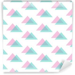 Vinil Duvar Kağıdı Sevimli, modern pembe ve nane yeşil üçgen seamless pattern background.