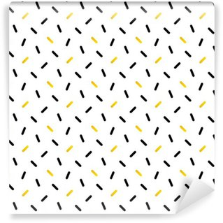 Vinil Duvar Kağıdı Sevimli siyah ve altın konfeti, geometrik seamless pattern background.