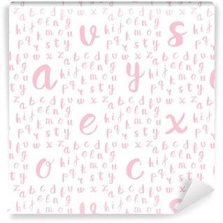 Vinil Duvar Kağıdı Siyah alfabe harfleriyle kesintisiz desen