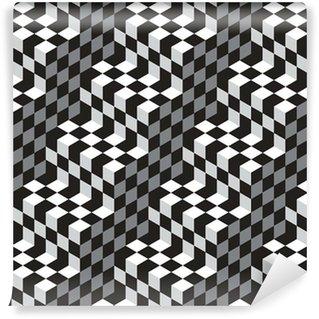 Vinil Duvar Kağıdı Siyah ve Beyaz Küpleri Optik Illustion Vektör Dikişsiz Desen
