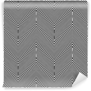 Vinil Duvar Kağıdı Siyah ve Beyaz Op Art Design Vektör Dikişsiz Desen Arkaplan