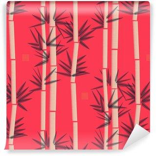 Vinil Duvar Kağıdı Siyah ve kırmızı tonlarında bambu dikişsiz desen