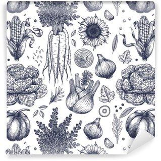 Vinil Duvar Kağıdı Sonbahar sebze dikişsiz desen. el yapımı vintage sebzeler. çizgi sanat illüstrasyonu. vektör illüstrasyonu