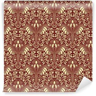 Vinil Duvar Kağıdı Sorunsuz desen yinelenen arka plan Damask. Barok stili fildişi bordo çiçek süsleme.