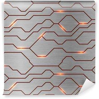 Vinil Duvar Kağıdı Sorunsuz vektör fütüristik tekno doku. fırçalanmış metal arka plan üzerinde Özet enerji hattı. Güç damar ışık teknolojili model.