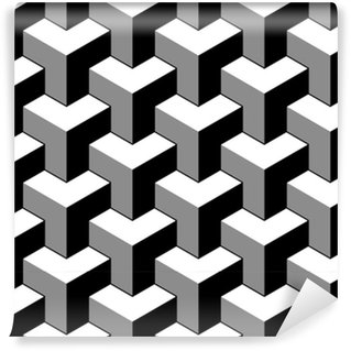 Vinil Duvar Kağıdı Soyut 3d küpler geometrik dikişsiz desen siyah beyaz, vektör