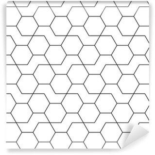 Vinil Duvar Kağıdı Soyut geometrik siyah ve beyaz yenilikçi moda tasarım baskı altıgen desen