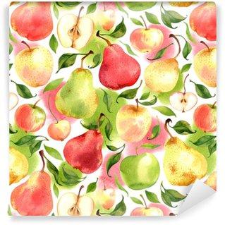 Vinil Duvar Kağıdı Suluboya elma ve armutlar ile beyaz arka planda sorunsuz desen