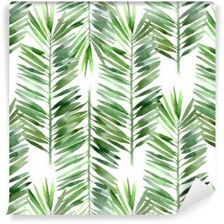 Vinil Duvar Kağıdı Suluboya palmiye ağacı yaprağı dikişsiz