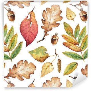 Özel Boyutlu Vinil Duvar Kağıdı Suluboya resimleri yaprakları. kesintisiz desen