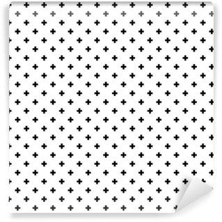 Vinil Duvar Kağıdı Tek renkli, siyah ve beyaz soyut seamless pattern background geçer.