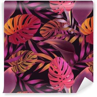 Vinil Duvar Kağıdı Tropik çiçekler, orman yapraklar, cennet çiçeği kuş.