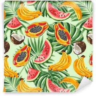 Vinil Duvar Kağıdı Tropik meyveler ve yaprakları ile kesintisiz desen. vektör illüstrasyonu.
