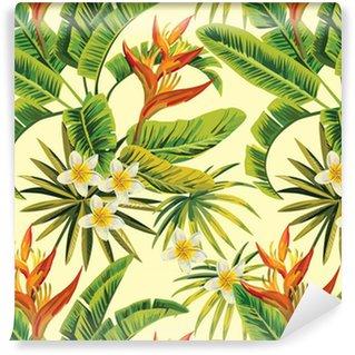 Vinil Duvar Kağıdı Tropikal egzotik çiçekler ve bitkiler desen